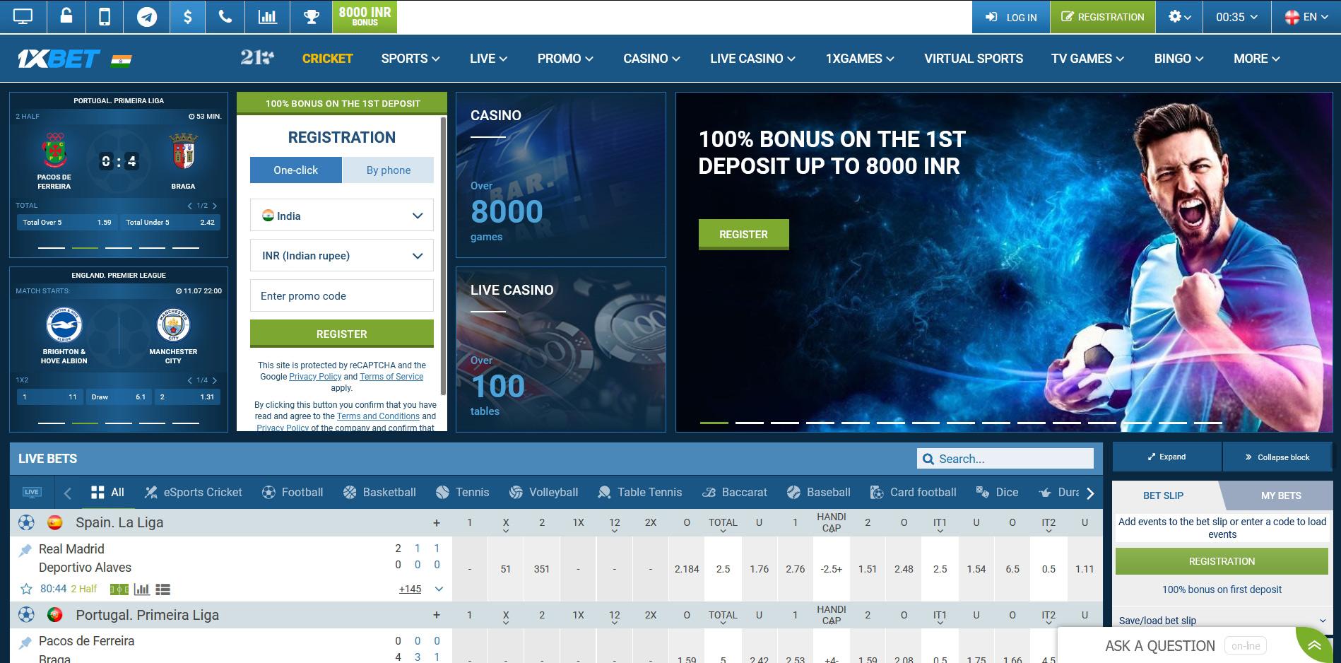Official website of 1xBet bookmaker.